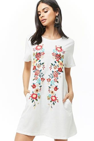 5f1b16820590 Floral Embroidered Swing Dress in 2019 | work | Dresses, Swing dress ...