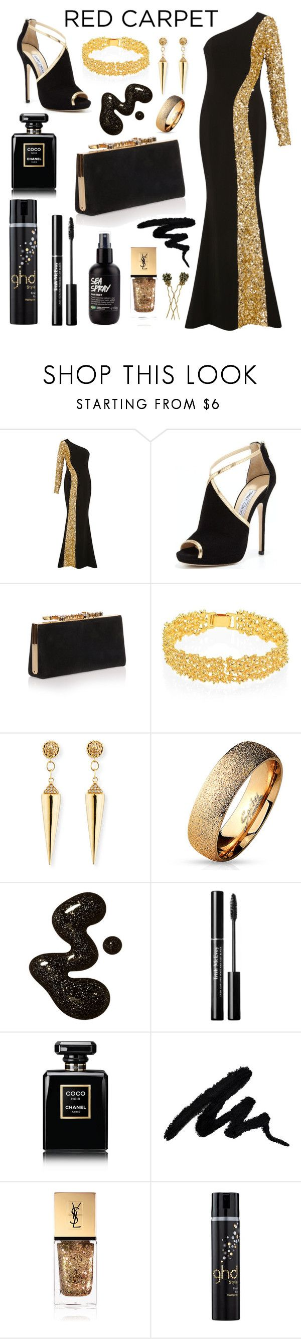 """""""Red Carpet Look"""" by tomlin945 ❤ liked on Polyvore featuring Elizabeth Kennedy, Jimmy Choo, Lele Sadoughi, Sydney Evan, West Coast Jewelry, Chanel, Yves Saint Laurent, GHD and Countess Cis Zoltowska"""