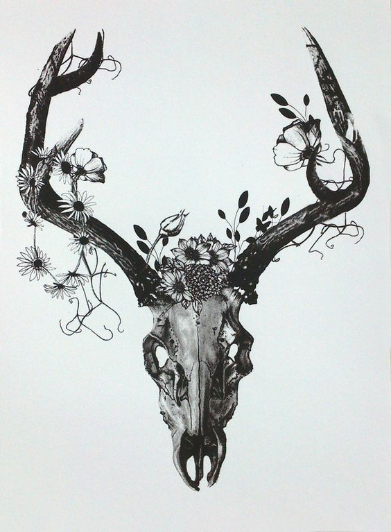 Unique Deer Skull Tattoo Design