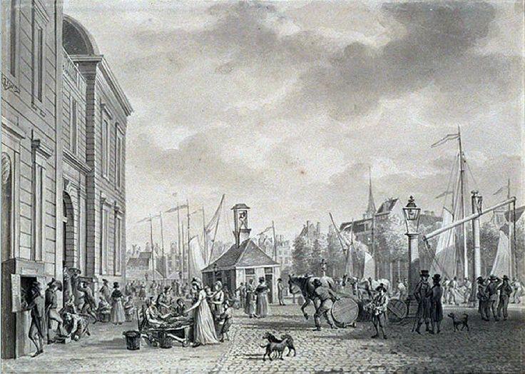 Het Beursplein, begin 19e eeuw.