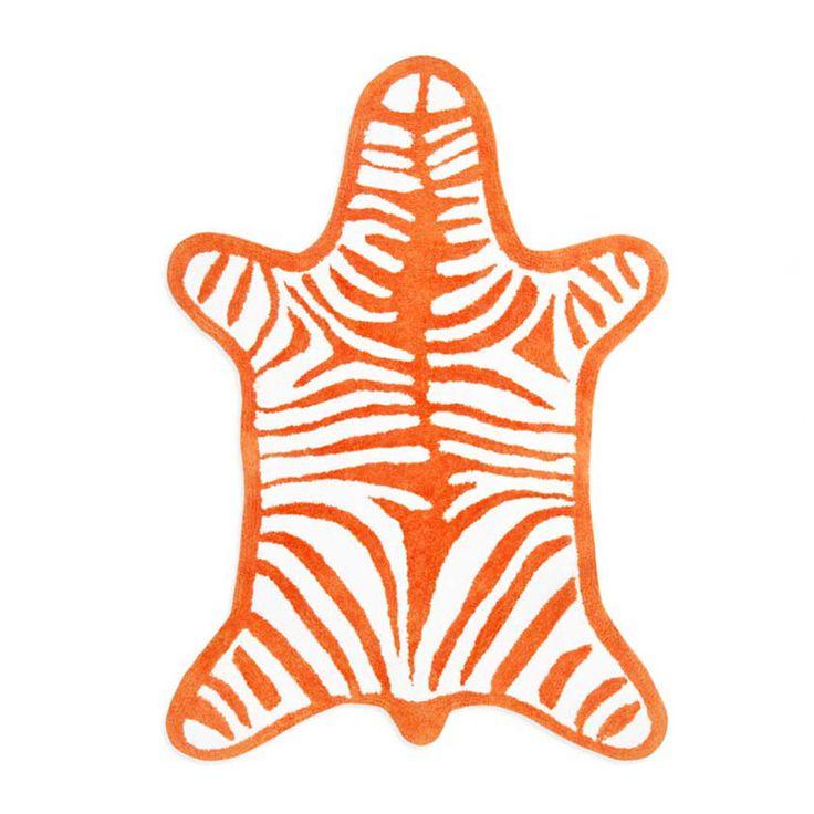 Orange Reversible Zebra Bath Mat