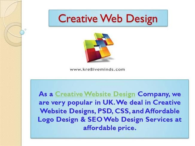 Creative Web Design by Kre8iveminds via authorSTREAM
