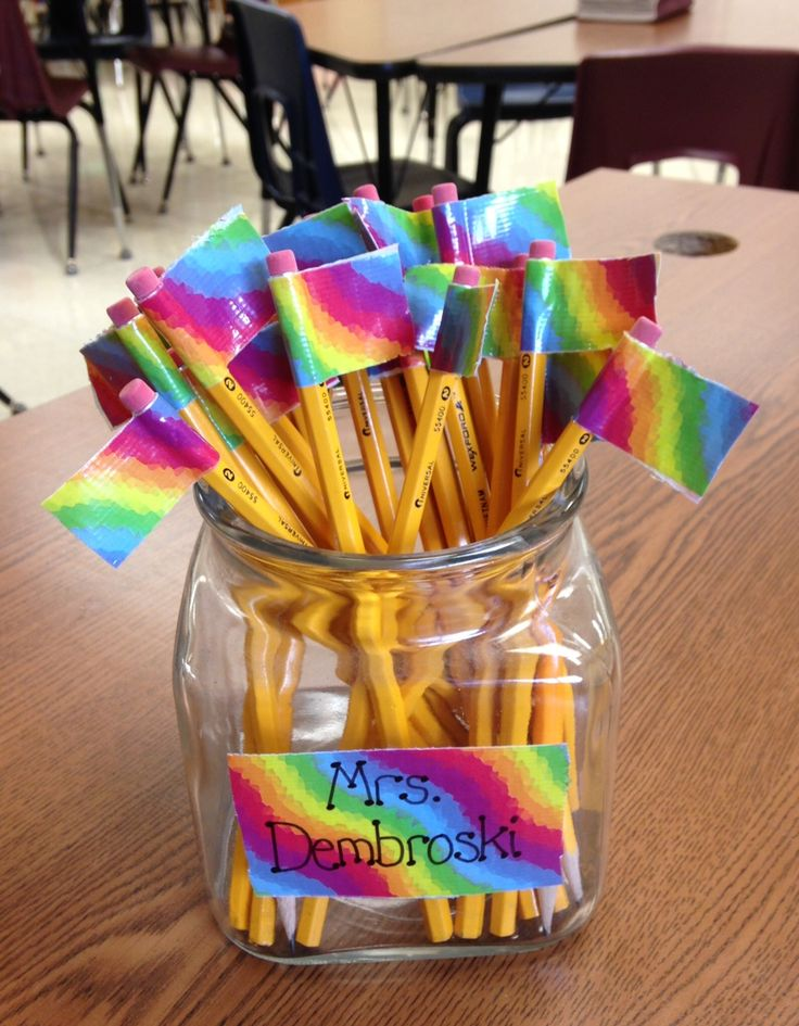 Inexpensive, colorful duct tape to flag pencils and help prevent them from disappearing!