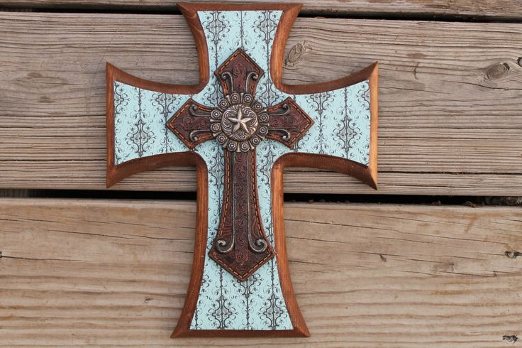 Turquoise and Black Western Decorative Wall Cross