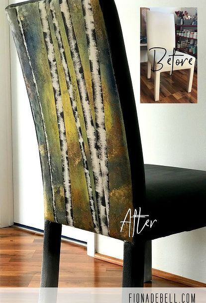 turn your soft furnishings into art with this super simple diy, Before and After of this Painted Fabric Chair