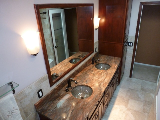 Higgins Construction - fantastic bathroom. That marble top is incredible.