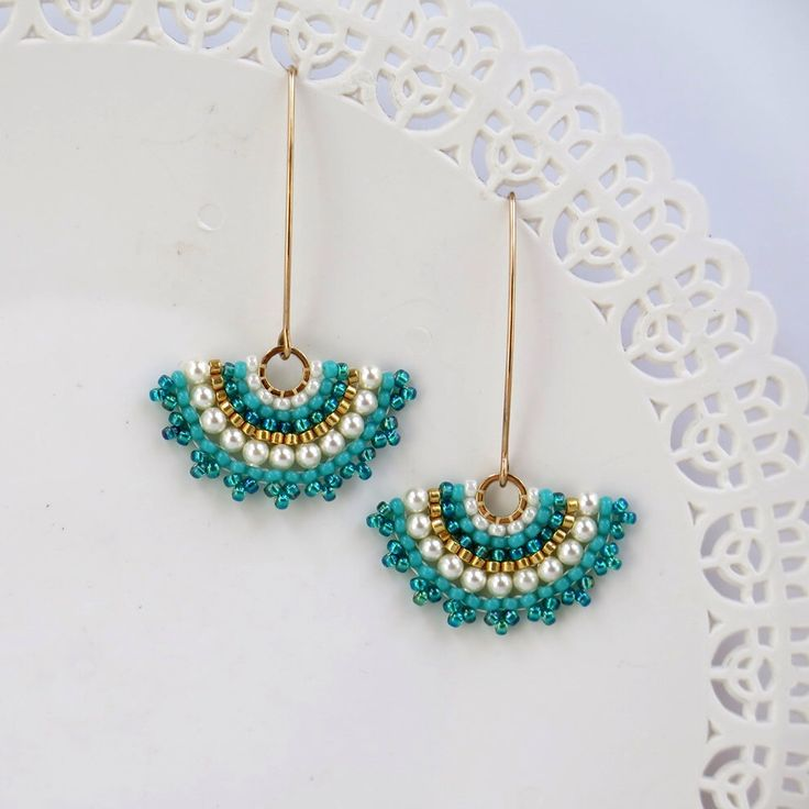 Fan earrings, Long turquoise earring, turquoise & pearl earring, Gold turquoise earring. turquoise dangle earrings, swarovski crystal pearls by LioraBJewelry on Etsy https://www.etsy.com/listing/218084439/fan-earrings-long-turquoise-earring