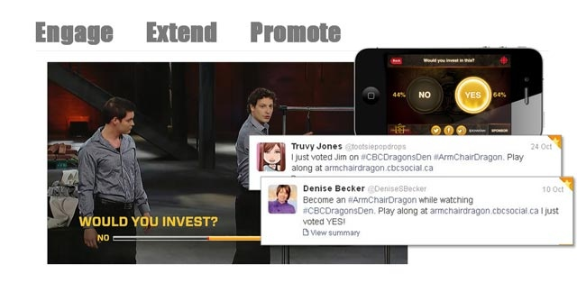 An example of how to engage the audience during a broadcast, create a fun experience in tandem with it online, and get some promotion out of that on social media. This was for Dragons Den.