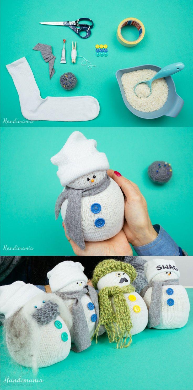 Muñeco de navidad con calcetín - handimania.com - DIY Sock Christmas Snowman
