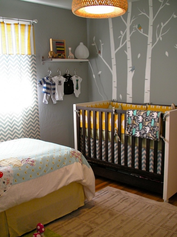 Shared nursery boy girl. (Can I just have trees on the walls of ever room in my future home?)