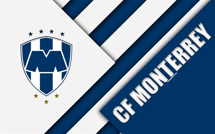 Download wallpapers CF Monterrey, 4k, Mexican Football Club, material design, logo, blue white abstraction, Monterrey, Nuevo Leon, Mexico, Primera Division, Liga MX, Monterrey FC