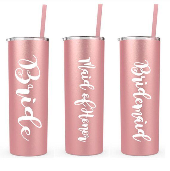 51fc83899c1 Rose gold personalized tumbler, brides and bridesmaid gift, personalized cup,  stainless steel rose gold cup, cup with straw