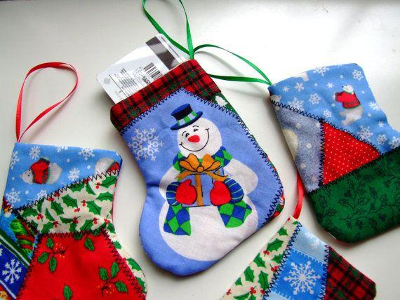 Handmade Patchwork Christmas Stockings Giftcard Holders