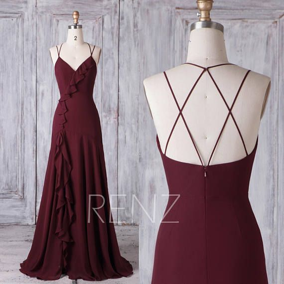 Bridesmaid Dress Maroon Chiffon Wedding Dress V Neck Maxi Dress Ruffle Fitted Party Dress Criss Cross Straps Slit Sheath Evening Dress(H622) 2