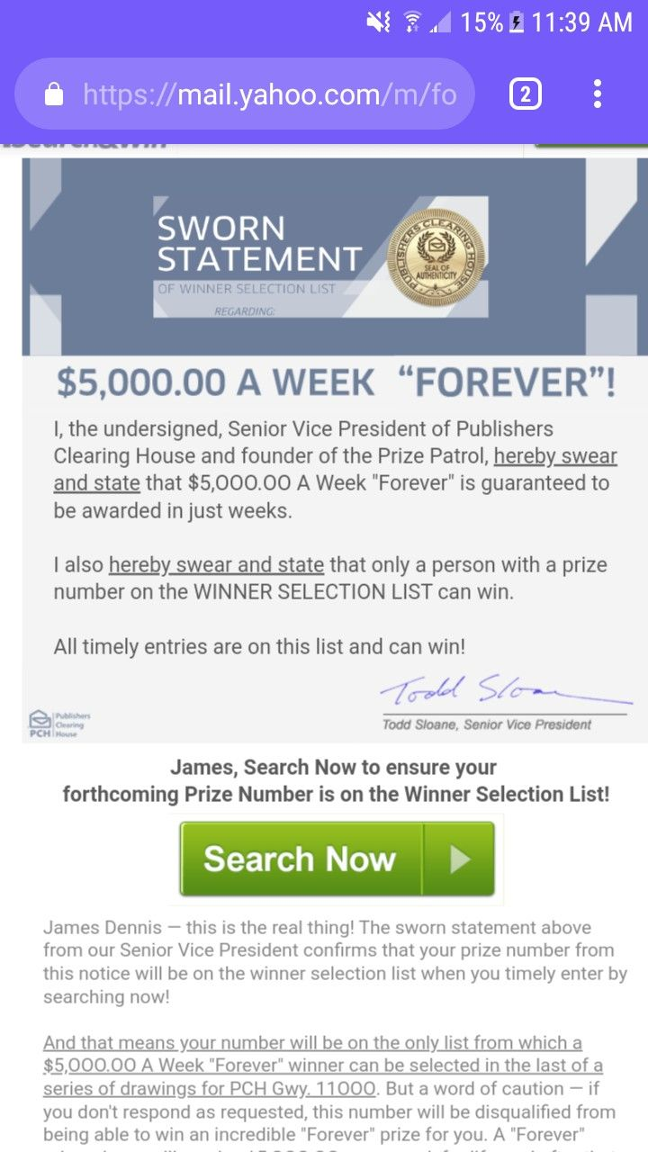 PCH $5,000 00 A Week Forever  SWORN STATEMENT OF WINNERS