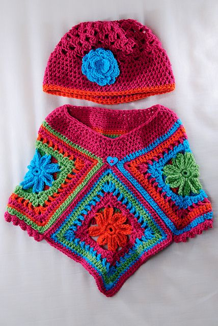 baby poncho made with granny squares