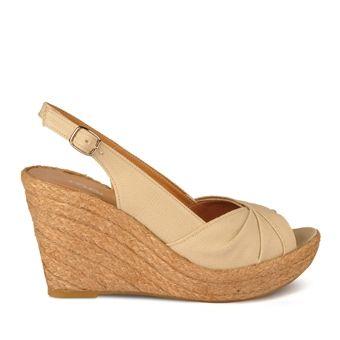 Marjin Linasi Dolgu Topuklu Ayakkabı Bej Keten 69,99 TL