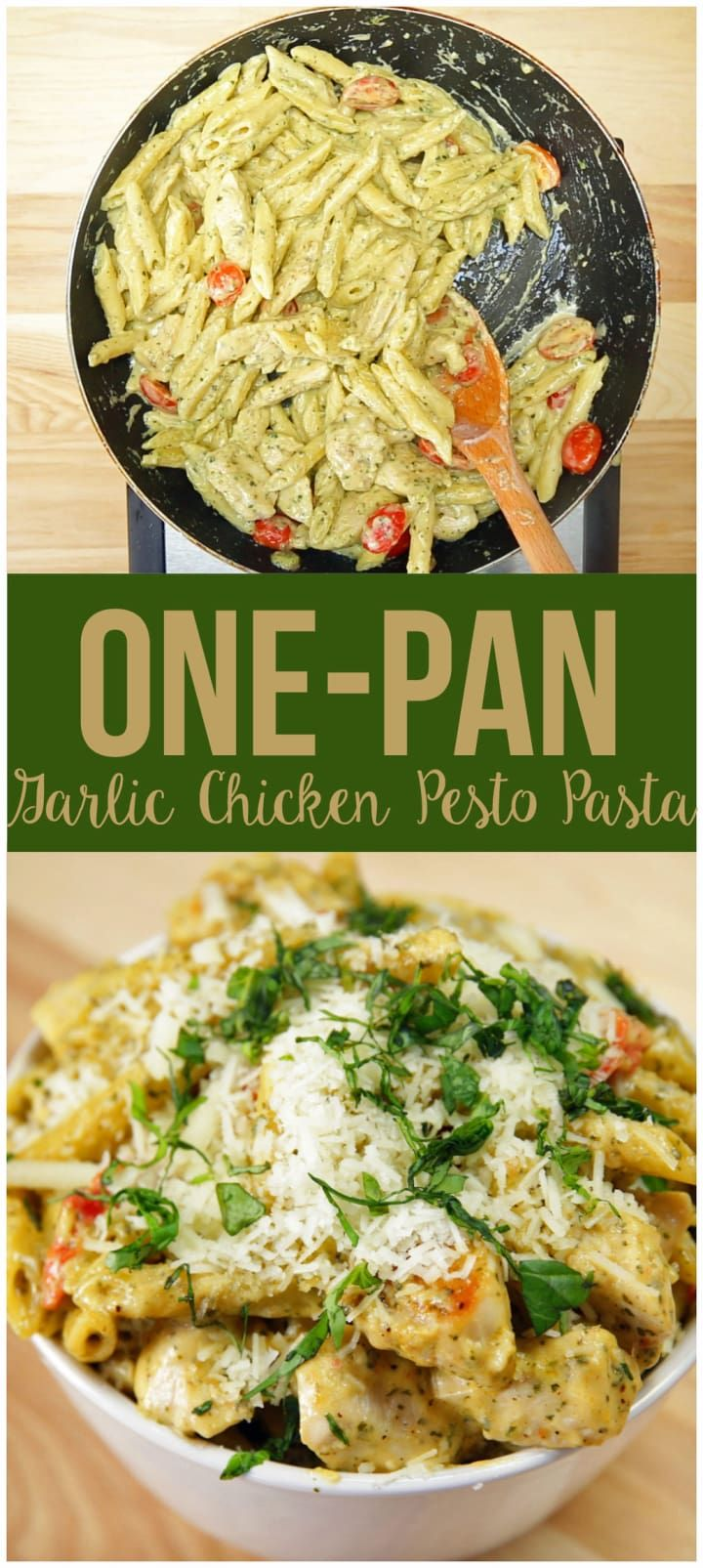 One-Pan Garlic Chicken Pesto Pasta (substitute the noodles with spaghetti squash or zucchini to make it low-carb)