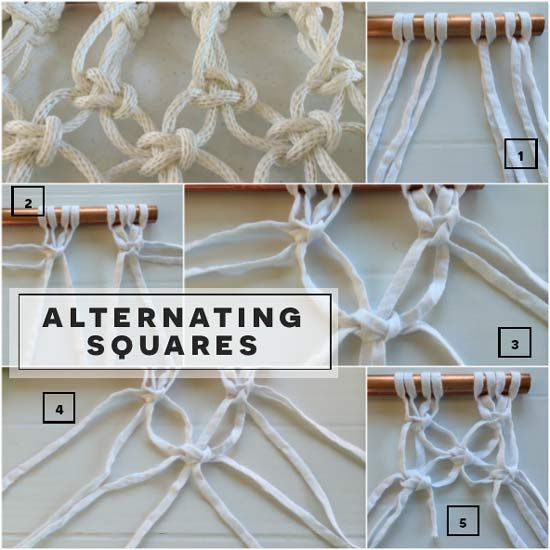 How To Tie Alternating Square Knots In Free Macrame