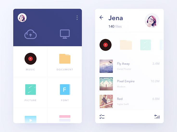 Daily UI #77  It's a YunFile App.  云盘嘛,几乎每天都在用,共享psd,共享音乐,共享字体包,到新电脑上同步一些数据等等。我想设计一个个性一点的云盘app,为它绘制一些极简的颜色丰富的icon,赋予它一个舒适的交互。  Show me some love and feedback, thanks!