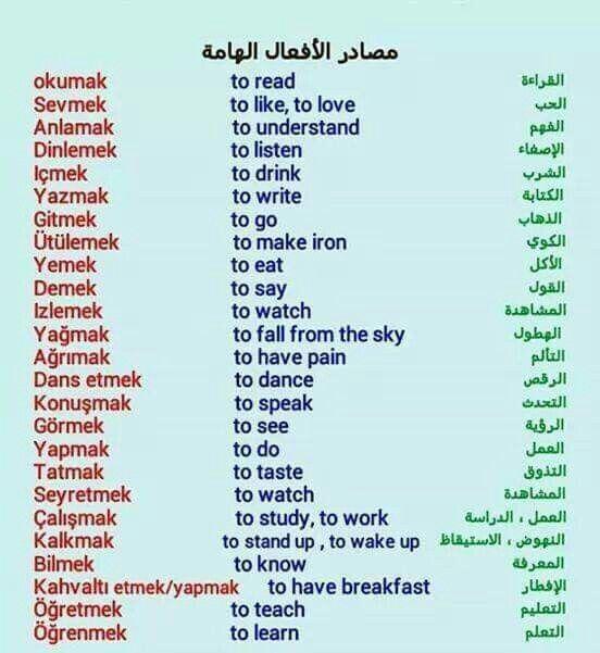 مصادر الأفعال الهامة باللغة التركية