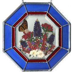 KPE, Inc. - Octagon Stained Glass with Texas Bluebonnets, Indain Paintbrush and a Monarch Butterfly