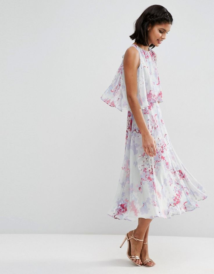 Image 4 ofASOS WEDDING Dress With Soft Double Layer in Print
