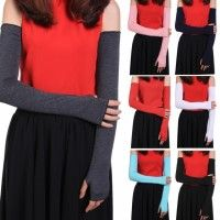 Women Fashion Modal Protective Stretchy Long Sleeve Solid Multicolor Driving Outdoor Arm Sleeve