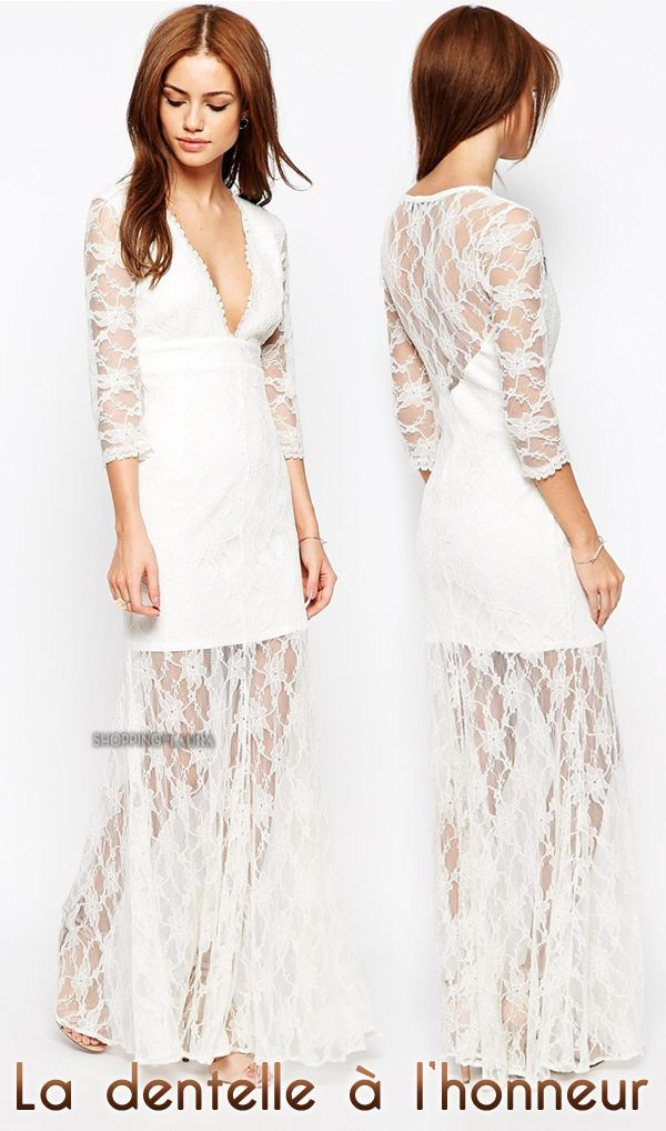 Fond de robe dentelle blanche