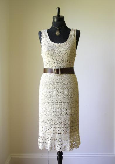 Round She Goes - Market Place - Preloved crochet lace dress size 10