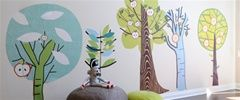 Free Shipping - Large Colorful Forest Trees - Fabric Wall Art Decals for Kids Rooms - Unique Eco-friendly Fabric Wall Stickers for Nursery, Toddler Rooms, Day Care Centers - Fabric Wall Murals for Kids Rooms, Bedrooms, Playrooms, Library, Doctor's Office