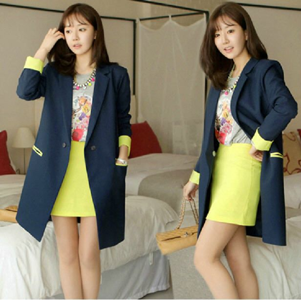 Free Shipping 2014 Spring Autumn New Long Sleeve Small Blazers Women Outwear Korean Big Size Loose Slim Long Blazers G484 US $52.16 /piece    CLICK LINK TO BUY THE PRODUCT  http://goo.gl/oYWEYs