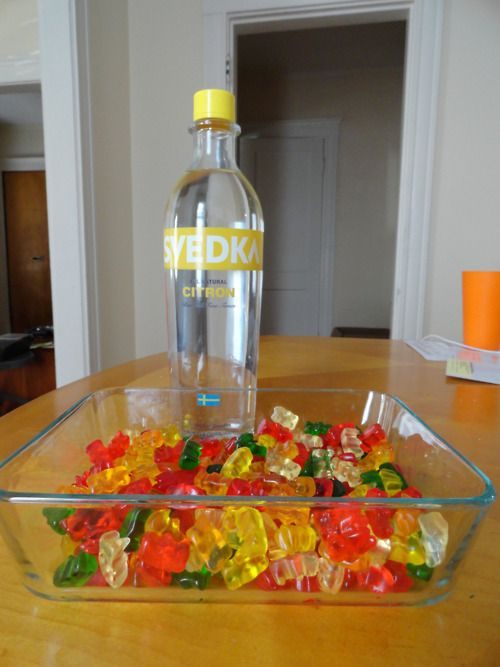 vodka gummy bears, jello shots, skittles vodka - all the good recipes here!