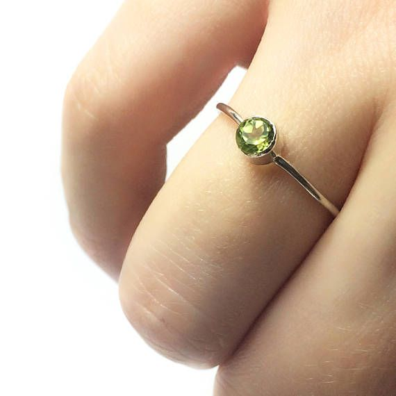 Sterling Silver Minimalist Ring with Peridot Stone  Hand Made