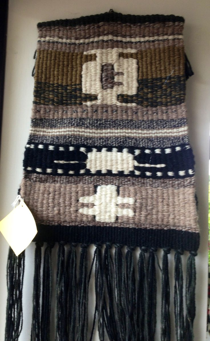 Navajo inspired woven wall hanging by Jackie Maddocks at Melin Trefin, Trefin, Pembrokeshire. www.melintrefin.co.uk