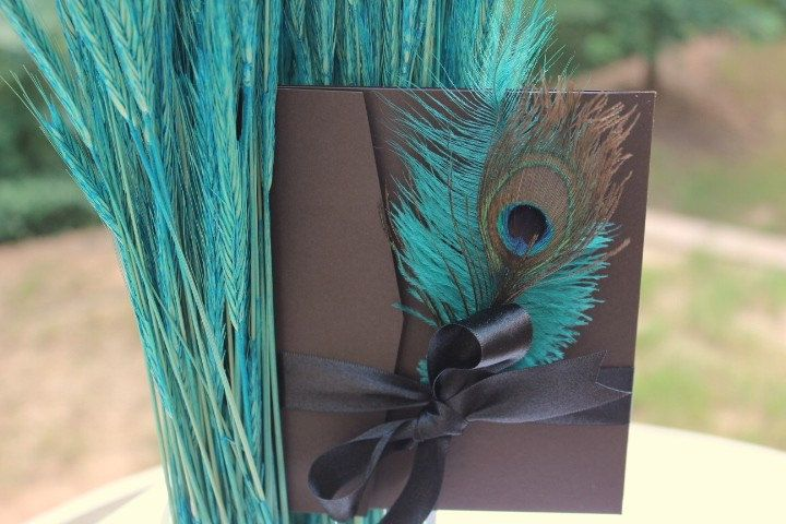 SAMPLE-- Peacock and Ostrich feather pocketfold wedding invitation. $10.75, via Etsy.