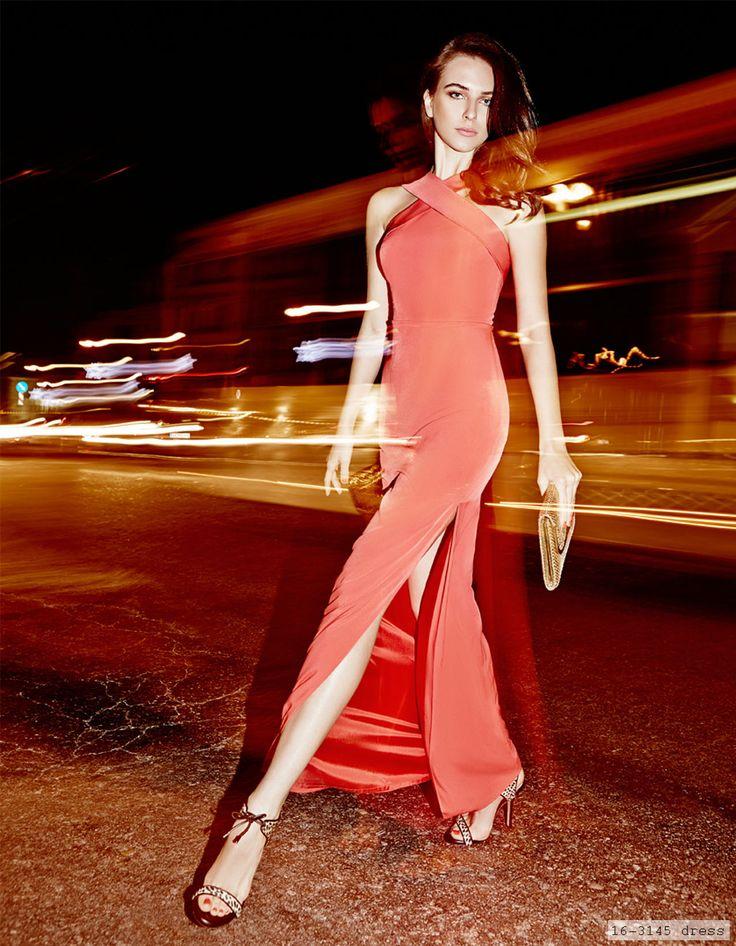 elegant evening red long dress, chic style