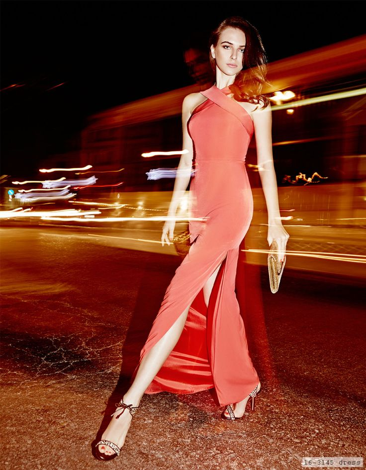 elegant evening red long dress, chic style