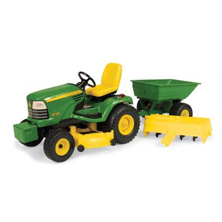 John Deere Toy 1:16 X748 Lawn & Garden Tractor with Cart and Tiller - Ertl 15989