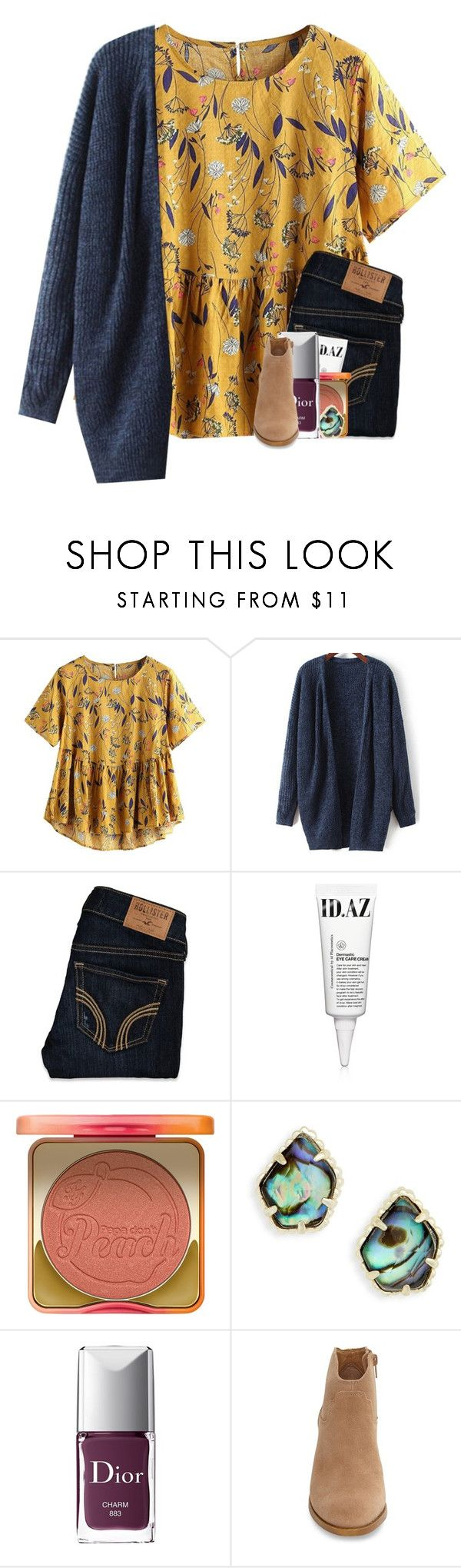 """happy first day of fall!!"" by madelinelurene ❤ liked on Polyvore featuring Hollister Co., ID.AZ, Too Faced Cosmetics, Kendra Scott, Christian Dior and Lucky Brand"