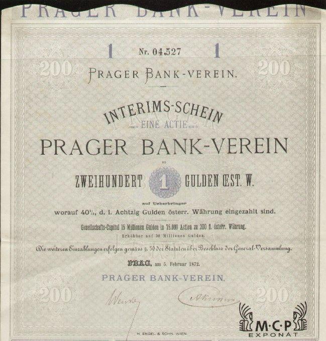 Muzeum cennych papiru A1005 PRAGER BANK-VEREIN 1872