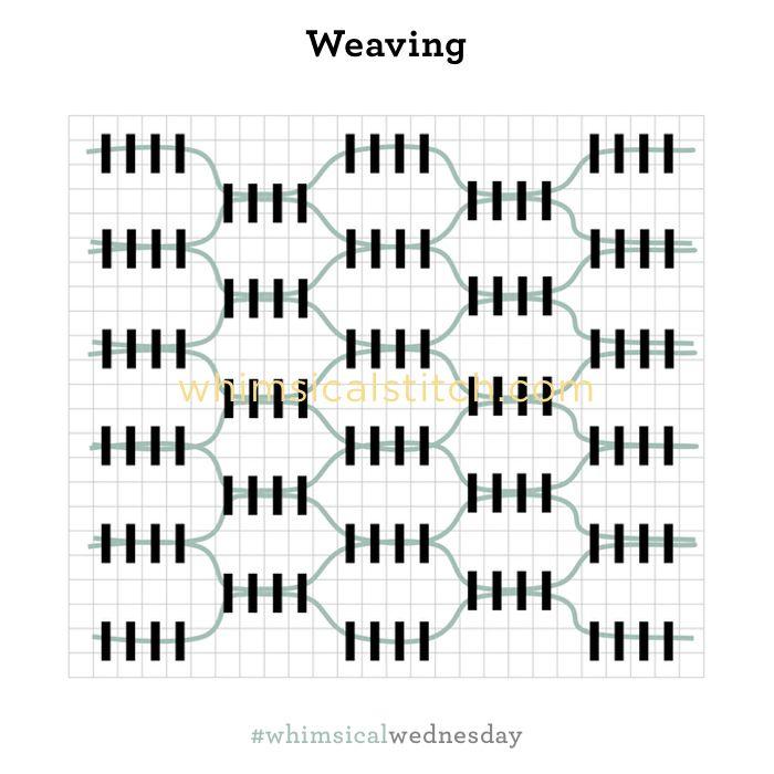 Weaving Stitch from February 28, 2018 whimsicalstitch.com/whimsicalwednesdays blog post.