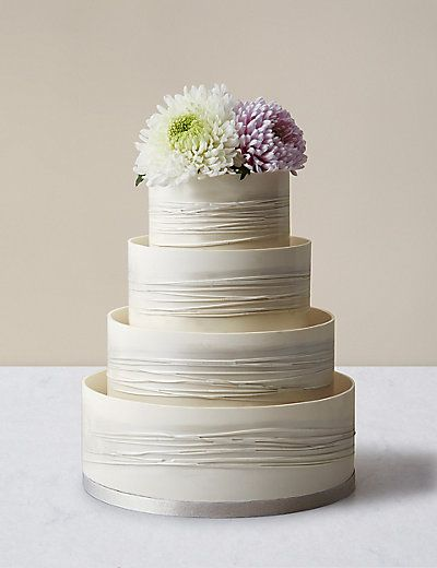 Shimmering Hoop Chocolate Wedding Cake (White & Silver) | M&S