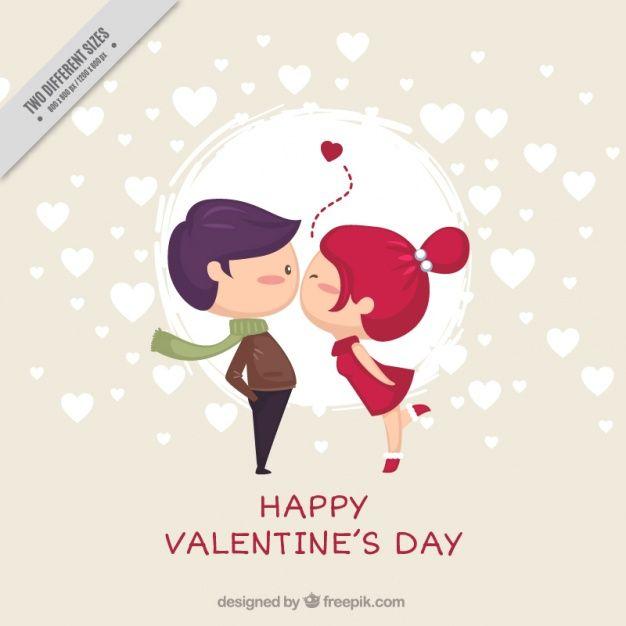 Beau fond d'un couple baiser dans la conception plate Vecteur gratuit