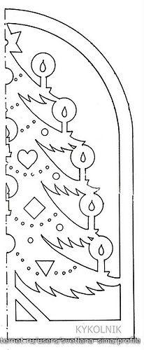 Трафарет для вырезания новогодней елки