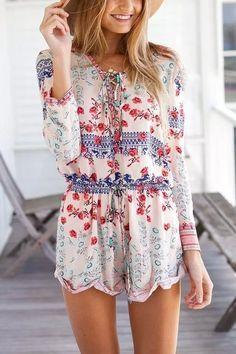 Floral Print Long Sleeved Easy Fit Romper #genuine-people