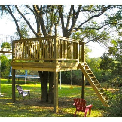 Pin by tamra cooper on gotta do pinterest for Tree house deck plans