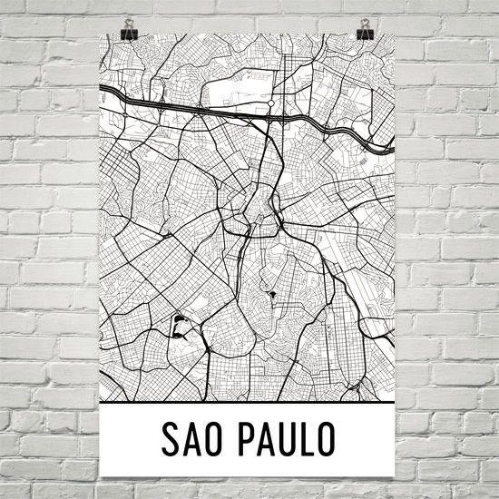 Sao Paulo Brazil Map, Art, Print, Poster, Wall Art From $29.99 - ModernMapArt