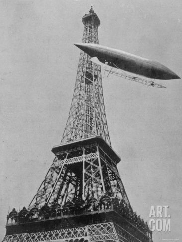 Airship No.5 of French Inventor and Fashion Plate Alberto Santos Dumont Reaching the Eiffel Tower Premium Photographic Print at Art.com