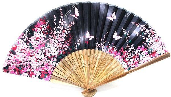 """SILK HAND FAN Black 8.3"""" Folding Wedding Favor Asian Japanese Butterfly Flower"""